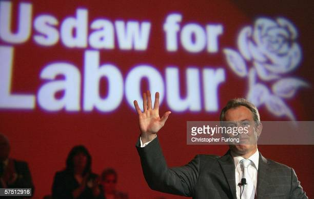 British Prime Minister Tony Blair addresses delegates during the Union of Shop, Distributive and Allied Workers annual meeting at Blackpool Winter...