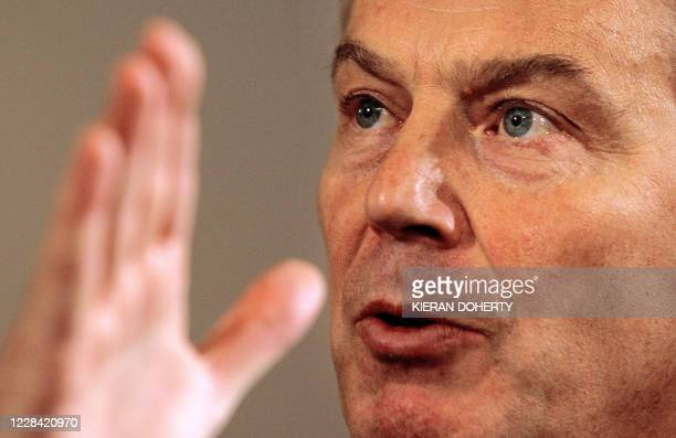 British Prime Minister Tony Blair addresses journalists at his monthly news conference in Downing Street in London, 23 January 2006. Blair called for...