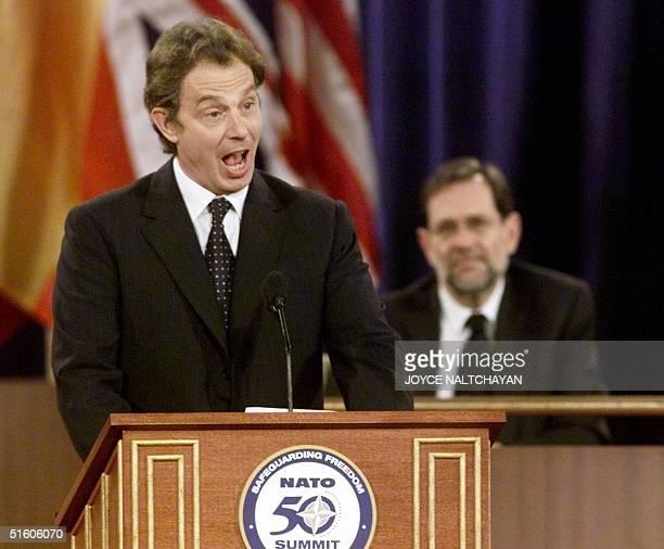 British Prime Minister Tony Blair addresses the NATO leadership at the commemorative ceremony of the NATO Summit 23 April 1999 in Washington DC At...