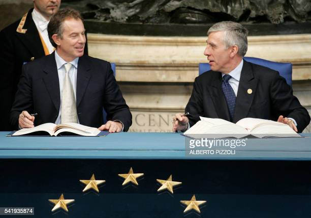 British Prime Minister Tony Blair and British Foreign Minister Jack Straw sign the Treaty and Final Act that establish a Constitution for Europe at...