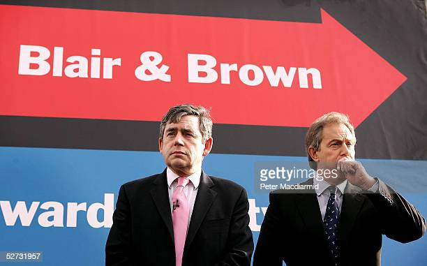 British Prime Minister Tony Blair and Chancellor of the Exchequer Gordon Brown unveil their latest election poster on April 29, 2005 in London. The...