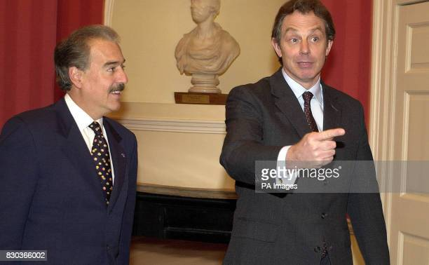 British Prime Minister Tony Blair and Colombian President Andres Pastrana at No 10 Downing Street London President Pastrana is in London to discuss...