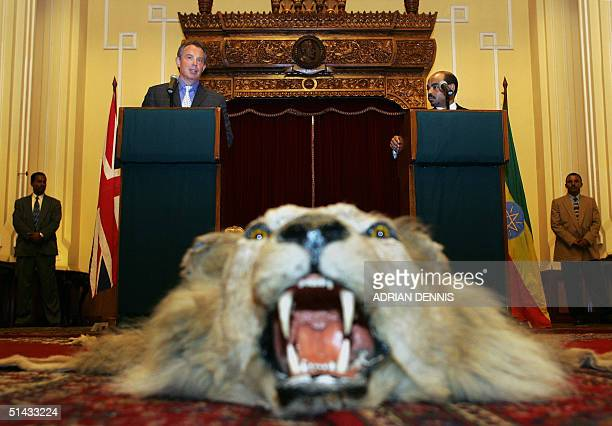 British Prime Minister Tony Blair and Ethiopian Prime Minister Meles Zenawi brief the media in front of a lion skin rug at The Presidential Palace in...