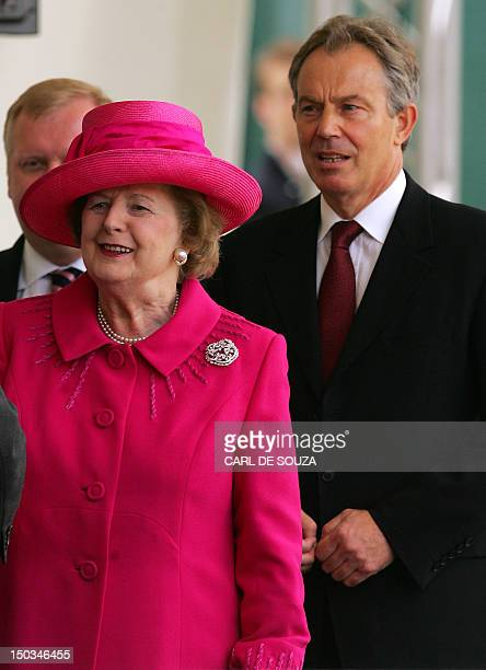 British Prime Minister Tony Blair and former British Prime Minister Margaret Thatcher arrive to attend a Falklands War commemoration Horseguards...