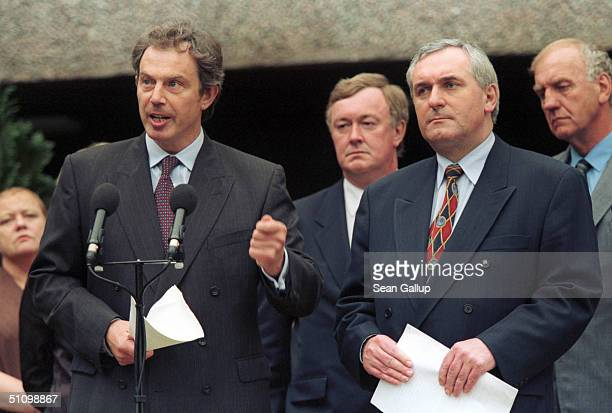British Prime Minister Tony Blair And His Irish Counterpart Bertie Ahern Present A Joint BritishIrish Blueprint For Implementation Of The Good Friday...