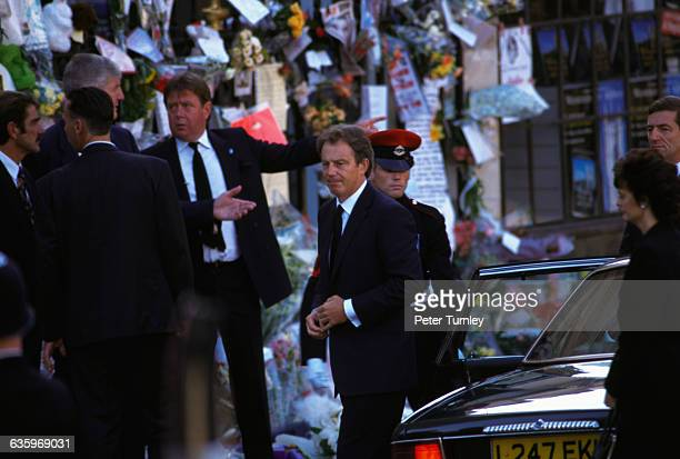 British Prime Minister Tony Blair and his wife Cherie arrive at the funeral of Diana Princess of Wales only seven days after she was killed in an...