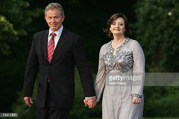 British Prime Minister Tony Blair and his wife Cherie Blair arrive at the opening dinner of the G8 summit at Heiligendamm June 6 2007 at Hohen Luckow...