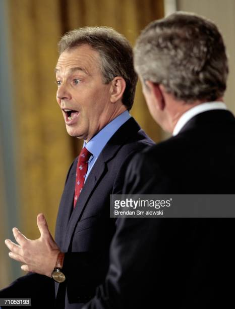 British Prime Minister Tony Blair and US President George W Bush participate in a joint press conference in the East Room of the White House May 25...