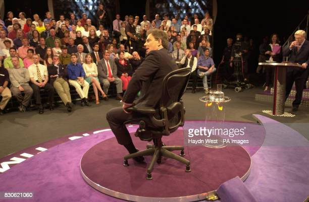 British Prime Minister Tony Blair appearing on BBC Question Time live with David Dimbleby in Bletchley Leisure Centre Milton Keynes
