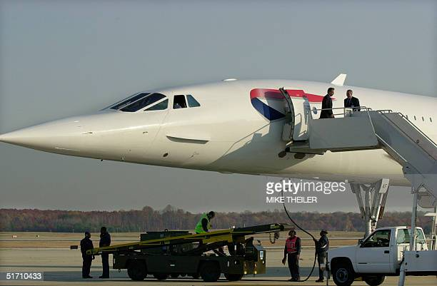 British Prime Minister Tony Blair arrives at Andrews Air Force Base Maryland aboard a Britsh Airways Concorde 07 November 2001 Blair is to meet with...
