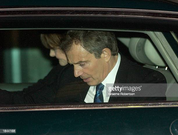 British Prime Minister Tony Blair arrives at Downing Street to dine with German Chancellor Gerhard Schroeder March 12 2003 in London England Blair...