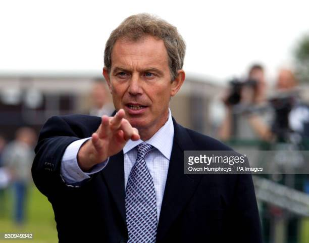 British Prime Minister Tony Blair arrives at the Sedgefield Community College in Co Durham ahead of a live televised press conference Mr Blair who...