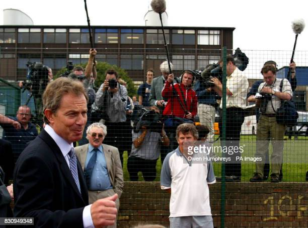 British Prime Minister Tony Blair arrives at the Sedgefield Community College in Co Durham ahead of a live televised press conference Mr Blair had...