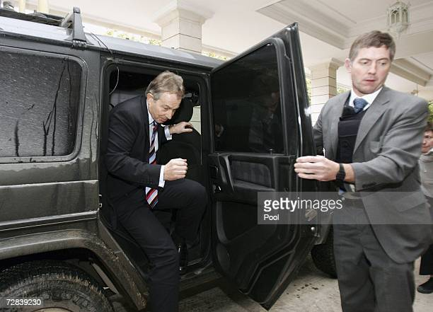British Prime Minister Tony Blair arrives for his meeting with Iraqi Prime Minister Nouri AlMaliki at fortified Green Zone in December 17 2006 in...
