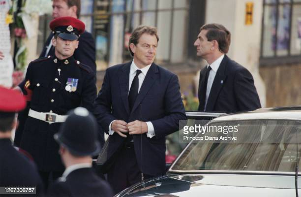 British Prime Minister Tony Blair arriving for the funeral service of Diana, Princess of Wales at Westminster Abbey, London, England, 6th September...