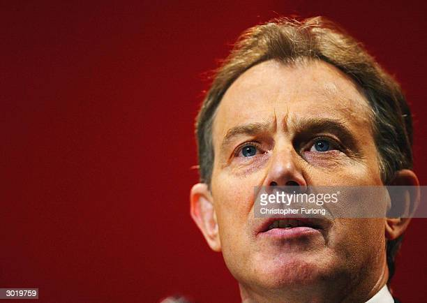 British Prime Minister Tony Blair at the Scottish Labour party conference February 27 2004 in Inverness Scotland Blair continues to face heavy...