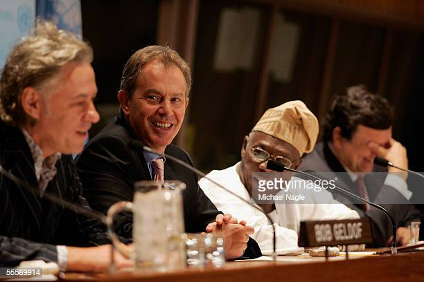 British Prime Minister Tony Blair attends a press conference on the building of Gleneagles with President Olusegun Obasanjo of Nigeria and Sir Bob...