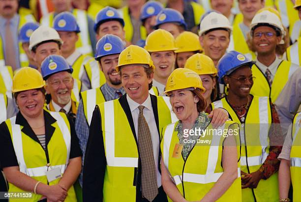 British Prime Minister Tony Blair attends the builder's rite of 'topping out' as the Millennium Dome reaches completion London 22nd June 1998