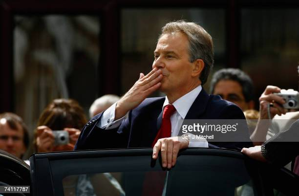 British Prime Minister Tony Blair blows a kiss to supporters as he leaves Trimdon Labour Club in his constituency of Sedgfield on May 10 2007 in...