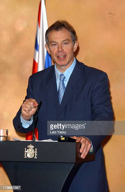 British Prime Minister Tony Blair during Tony Blair and Jose Maria Aznar Press ConferenceMadrid at La Moncloa Palace in Madrid Spain