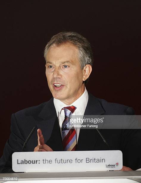 British Prime Minister Tony Blair gives his key note speech to delegates at the GMEX centre on September 26 2006 in Manchester England Mr Blair gave...