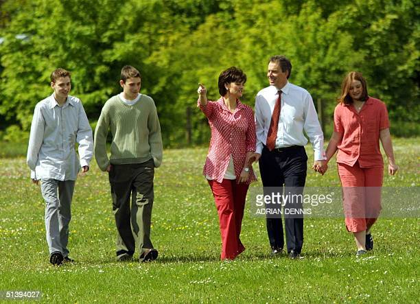 British Prime Minister Tony Blair his wife Cherie and children Euan Nicholas and Kathryn walk to the polling station to vote in the General Election...