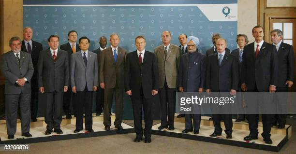 British Prime Minister, Tony Blair, is joined by other world leaders during a group photo of G8 and other leaders on July 7, 2005 at the Gleneagles...