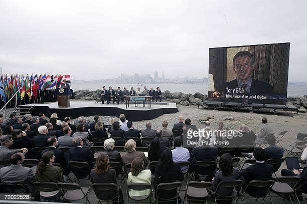 British Prime Minister Tony Blair joins California Governor Arnold Schwarzenegger via satellite before he signs landmark legislation bill AB32 the...