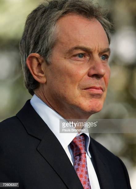 British Prime Minister Tony Blair looks on at a meeting with the media, held with Afghan President Hamid Karzai, on November 20, 2006 at the...