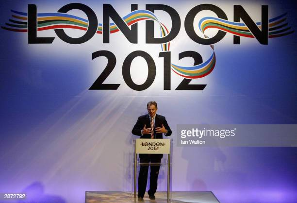 British Prime Minister Tony Blair makes a key-note address at the launch of London's official bid to host the 2012 Olympic Games at the Royal Opera...
