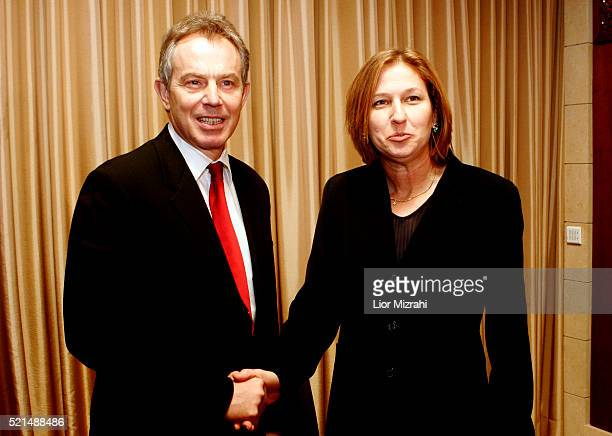 British Prime Minister Tony Blair meets with Israeli Foreign Minister Tzipi Livni at The King David hotel in Jerusalem on December 18 2006 Mr Blair...
