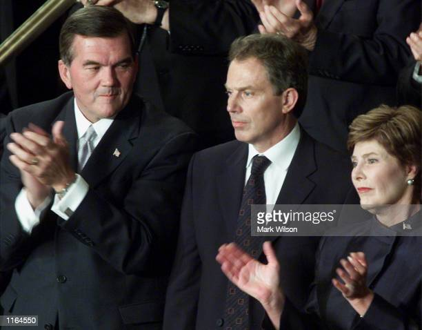 British Prime Minister Tony Blair receives applause while standing next to Pennsylvania Gov. Tom Ridge and First Lady Laura Bush as President George...