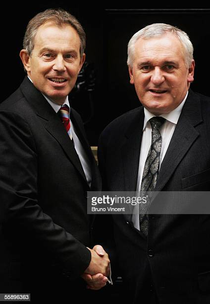 British Prime Minister Tony Blair shakes hands with his Irish counterpart Bertie Ahern outside Number 10 Downing Street on October 11 2005 in London...