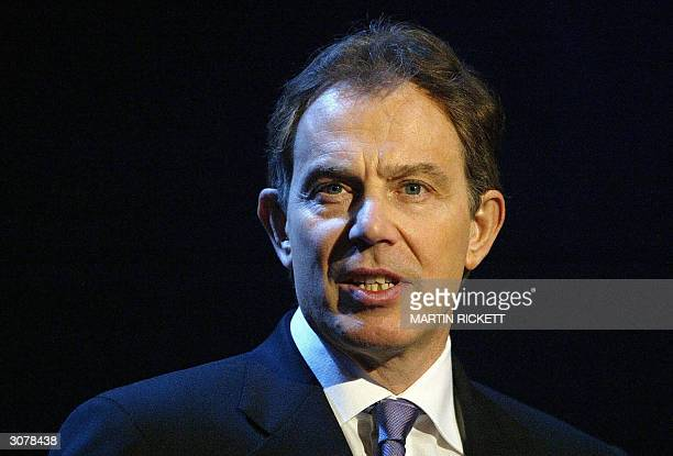 British Prime Minister Tony Blair speaks about the terror attacks in Madrid during his visit Oakwood High School Chorlton Manchester 12 March 2004...