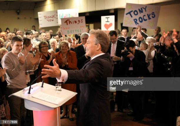 British Prime Minister Tony Blair speaks at Trimdon Labour Club in his Sedgefield constituency where he is announced his departure as Prime Minister...