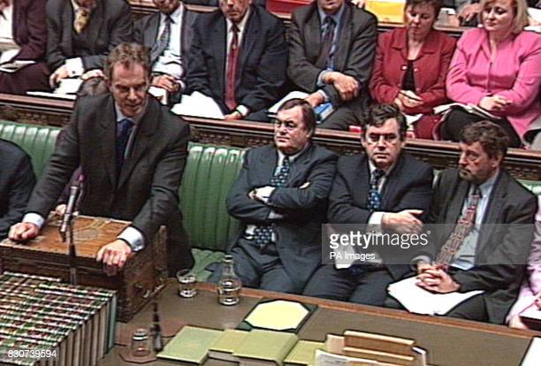 British Prime Minister Tony Blair stands alongside colleagues John Prescott Gordon Brown and David Blunkett as he takes questions from MPs in the...