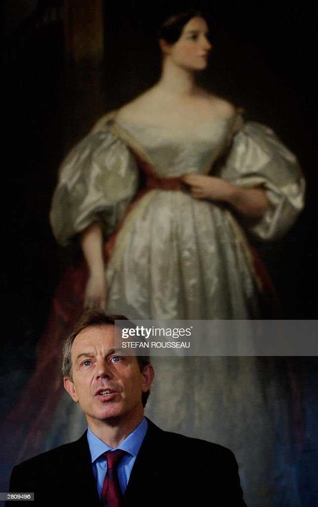 British Prime Minister Tony Blair stands in front of Augusta Ada Byron, Countess of Lovelace, by Margaret Carpenter, during a press conference at Downing Street, 14 December 2003, following the capture of Saddam Hussein. The Prime Minister said Saddam had gone from power and 'won't be coming back'. Speaking from Downing Street Mr Blair said the Iraqi people would now decide on the future of the country.