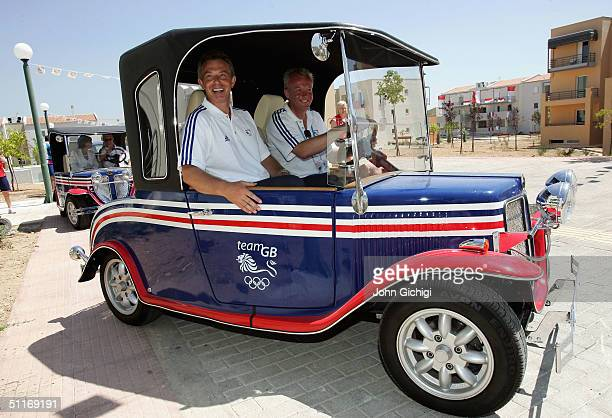 British Prime Minister Tony Blair takes a ride with Simon Clegg during his visit to the Team GB residence at the Athletes Village during the Athens...