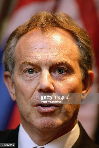 British Prime Minister Tony Blair talks to reporters after meeting with Colonel Gadhafi on May 29 2007 in Sirte Libya Mr Blair is on a five day visit...
