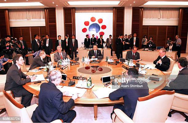British Prime Minister Tony Blair, U.S. President Bill Clinton, Canadian Prime Minister Jean Chretien, German Chancellor Gerhard Schroeder, Japanese...