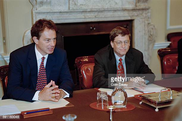 British Prime Minister Tony Blair with American businessman and Microsoft cofounder Bill Gates at 10 Downing Street London UK 7th October 1997