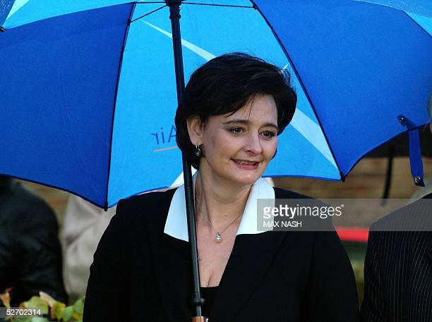 British Prime minister Tony Blair's wife Cherie arrives at the church of St Mary The Virgin in Denham to attend the funeral of Sir John Mills 27...