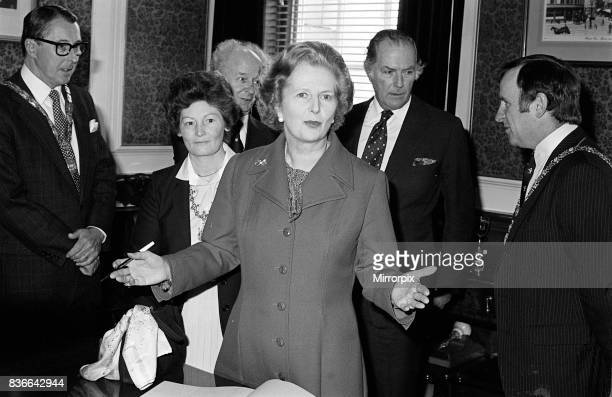 British Prime Minister Visits Belfast Northern Ireland May 1981 Mrs Thatcher makes a point before signing the visitors book at Belfast City Hall With...