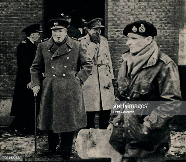 British Prime Minister Visits The Western Front' British Prime Minister Winston Churchill with Field Marshal Montgomery on a visit to the 'Second...