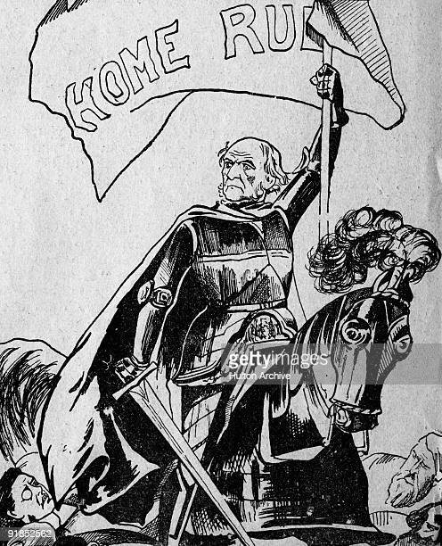 British Prime Minister William Gladstone introduces the Home Rule Bill for Ireland 1886 The bill was rejected A cartoon from the 'Weekly Freeman' pub...