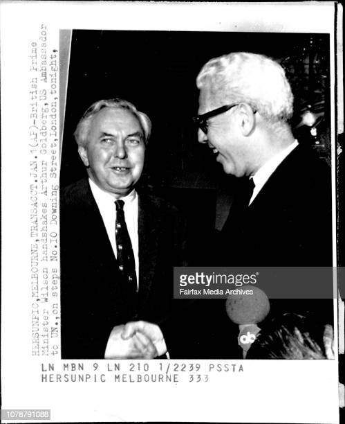 British Prime Minister Wilson handshakes Arthur Goldberg US Ambassador to UN on steps No 10 Downing Street London tonight *****Britain's Prime...
