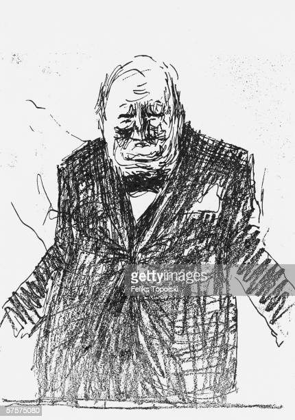 British prime minister Winston Churchill A sketch by Polishborn British expressionist Feliks Topolski published in Topolski's Chronicle No 2 Vol I...