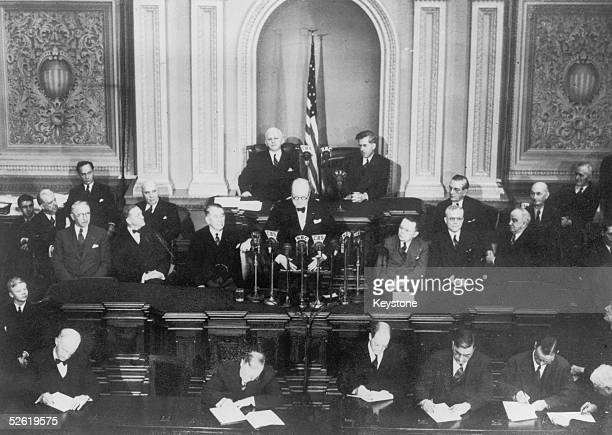 British Prime Minister Winston Churchill addresses a joint session of Congress in the Senate Chamber of the Capitol in Washington 13th January 1942