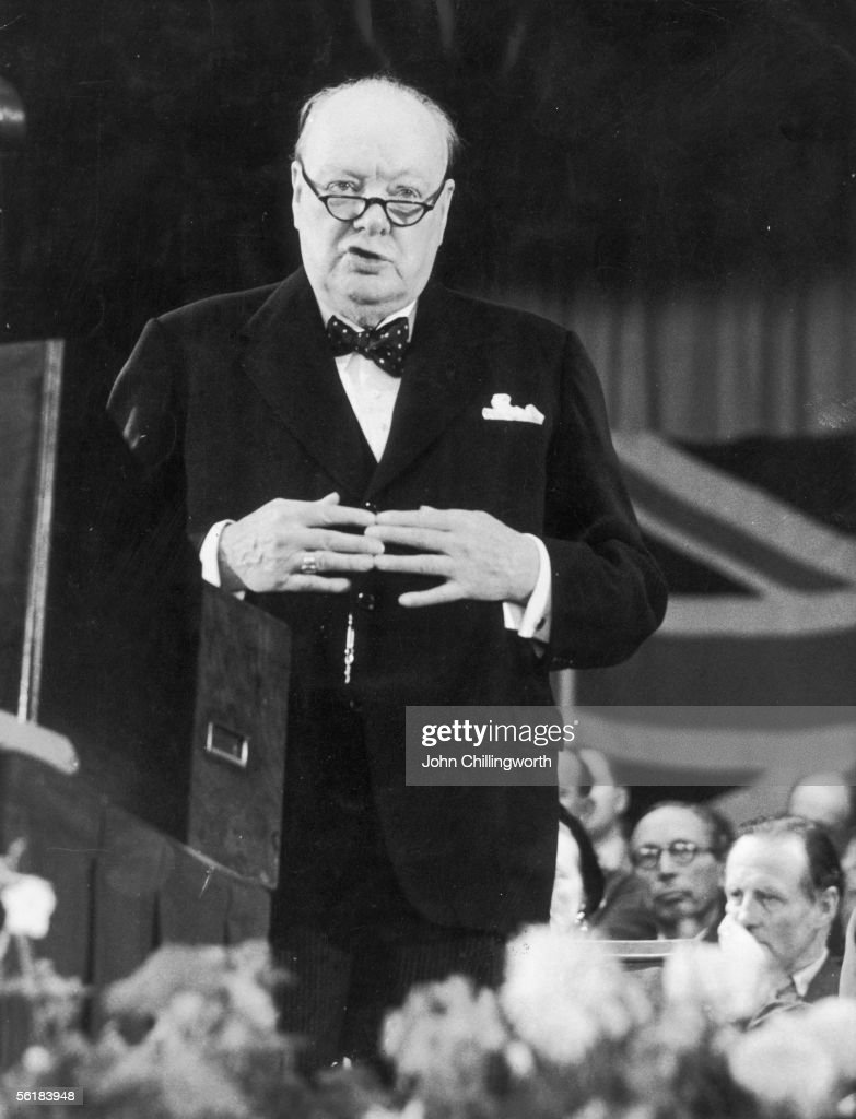 British prime minister Winston Churchill (1874 - 1965) addresses delegates at the Conservative Party Conference in Margate, 24th October 1953. Original Publication : Picture Post - 6768 - Margate Might Have Been - pub. 1953