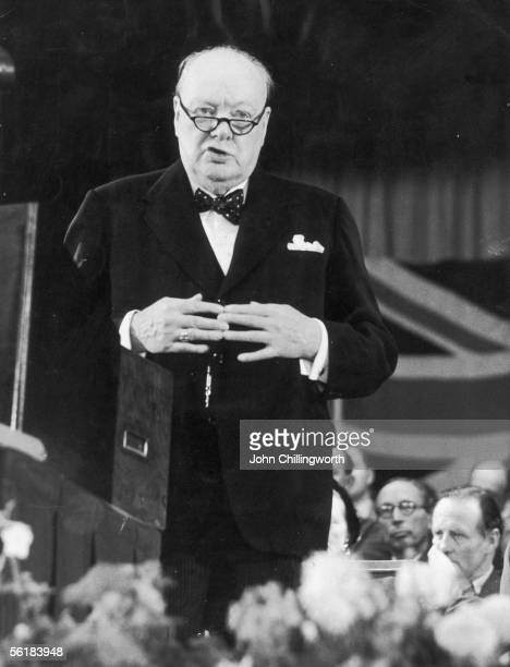 British prime minister Winston Churchill addresses delegates at the Conservative Party Conference in Margate, 24th October 1953. Original Publication...